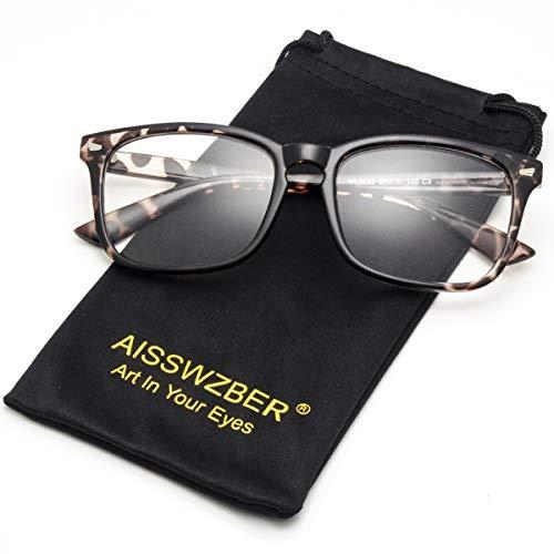 aisswzber Square Non-Prescription Glasses Clear Lens ()