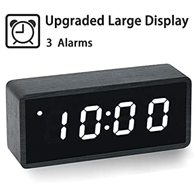 ?Upgraded? Digital Alarm Clock, with Wooden Electronic LED Time, Large Display, 3 Alarm Settings, Wood Made Electric Clocks for Bedroom, Bedside, Office, Black