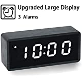 【Upgraded】 Digital Alarm Clock, with Wooden Electronic LED Time, Large Display, 3 Alarm Settings, Wood Made Electric Clocks for Bedroom, Bedside, Office, Black