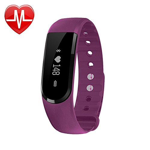 Fitness Tracker, Heart Rate Monitor Watch ,FIT-FIRE Wireless Smart Activity Heart Rate Monitor Fitness Watch with OLED Display (Purple)