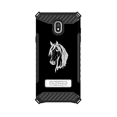 - Trishield Hybrid Case with Kickstand for Samsung Galaxy J3 2018 by InfoposUSA Horse Head Silhouette