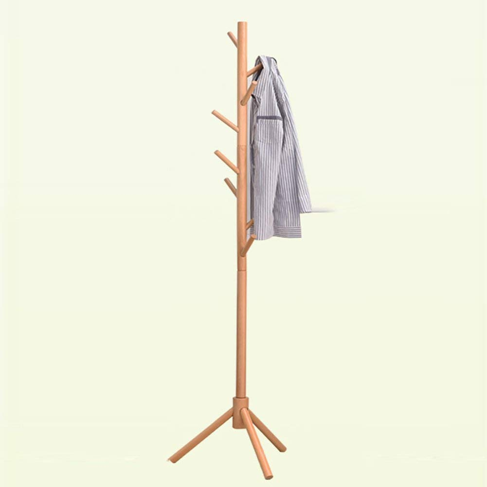 Wood color Der Solid Wood Simple Modern Space Bedroom Home Single Pole Hanger Floor-Standing Clothes Rack (color   White)
