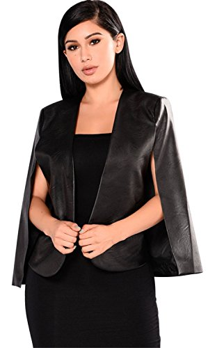 Cloak Style Long Sleeve - Sexy Cloak Poncho Cape Style Split Slit Open Front Long Sleeve PU Faux Leather Buttonless Blazer Jacket Duster Coat Top Black XL