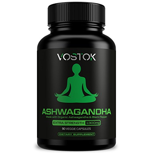 Organic Ashwagandha 1300mg – Natural Stress and Anxiety Relief Supplement – Healthy Nervous System, Energy and Mood Support – Non-GMO and Gluten Free – with Black Pepper Extract – 90 Veggie Capsules Review