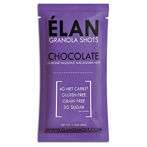 ELAN Dark Chocolate Macadamia Nut Granola Fat Bomb, Organic Vegan Keto Snack, Low Net Carb Breakfast Cereal Snack To Go (1.1 Ounce Packet, 10 Pack)