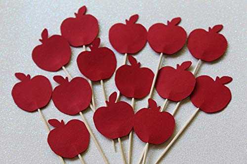 Red Apple Cupcake Toppers - Food Picks - Back to School Party Decor - Set of 24 -