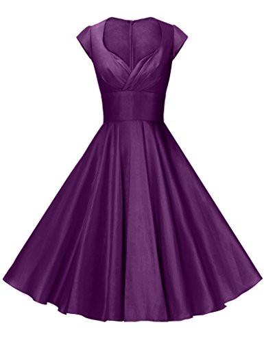 GownTown Womens Dresses Party Dresses 1950s Vintage Dresses Swing Stretchy Dresses, Purple, XX-Large