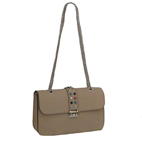 Pochette sac cuir soirée pochette de chaînes d'été sac bandoulière en coloré Nude détails pochette Simone colorés cloutés sac d'été vdCqvw5z
