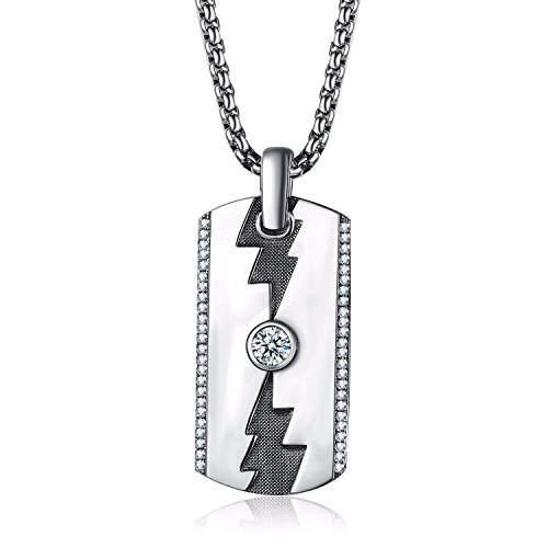 Caperci Sterling Silver Designer Lightning Dog Tag Pendant Necklace for Men with CZ Diamond, 28''
