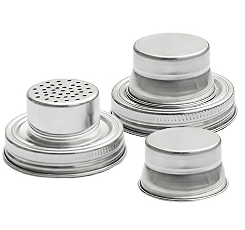 [Mason Jar Shaker Lids - 2 Pack - Use to Shake Drinks and Cocktails or for Dry Rub - Mix Peppers, Spices, Dredge Flour & More - Size Fits Any Regular Mouth Canning Jar - Stainless Steel, Rust] (Salt And Pepper Costumes Make Your Own)