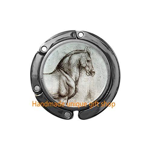 Fashion Purse Hook,Charm Purse Hook,Dainty Purse Hook,Da Vinci Horse Bag Hook,Horse Purse Hook,Horse Jewelry-RC365 (Da Vinci Crescent Mini)
