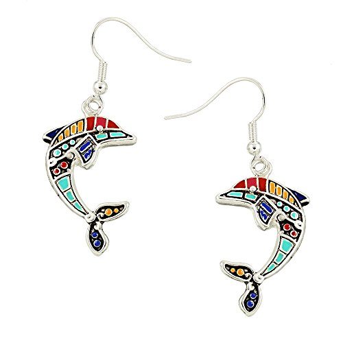 Liavy's Multi-Color Dolphin Fashionable Earrings - Hand Painted - Epoxy - Fish Hook - Unique Gift and - Dolphin Hand Painted