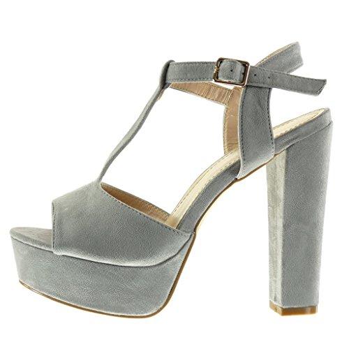 Angkorly - Zapatillas de Moda Sandalias correa Peep-Toe zapatillas de plataforma mujer Hebilla Talón Tacón ancho alto 13 CM - Gris