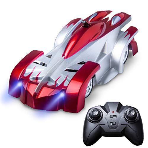 Gravity Defying RC Car Toys - Remote Control Car Toys for Boys or Girls, LED Light Up Stunt Cars for Kids w/ Remote Control (Red)