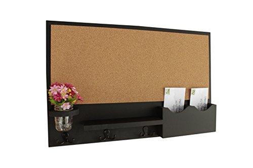 Letter Bulletin (Legacy Studio Decor Cork Board Mail & Letter Holder with Key Hooks (Smooth, Black))