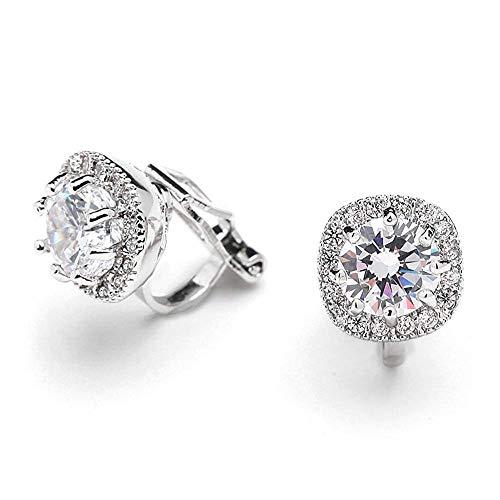 - Jane Stone Women's Cubic Zirconia CZ 925 Sterling Silver Clip On Stud non pierced earrings