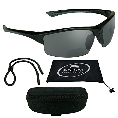 Bi Focal Polarized Sunglasses 1.5 with Premium 12mm TAC Polarized Lenses and Tr90 Frame. Free Nylon Water Resistant Zipper Case and Sunglass Strap Included.