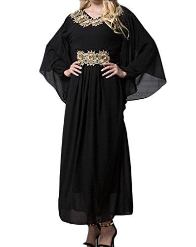 cheelot Women Islamic Malaysia Plus Size Arabian Muslim Jalabiyas Maxi Dress Black XL -