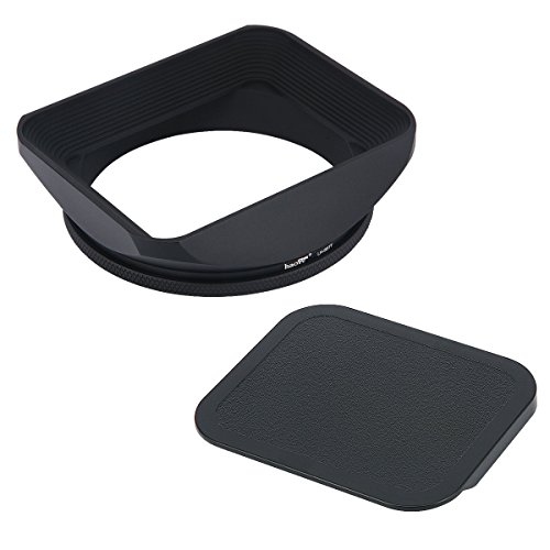 Haoge 67mm Square Metal Screw-in Mount Lens Hood Shade with Cap for 67mm Canon Nikon Sony Leica Leitz Carl Zeiss Voigtlander Nikkor Panasonic Fujifilm Olympus Lens and Other 67mm Filter Thread Lens