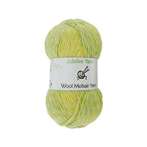 BambooMN Brand - Wool Blend Yarn Worsted Weight - Mohair Yarn - 100g/Skeins of Summer Lemonade - 2 Skeins