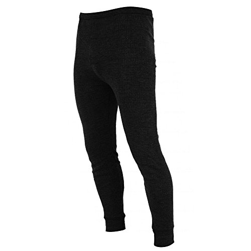 FLOSO® Mens Thermal Underwear Long Johns/Pants (Viscose Premium Range) (Waist: 30-32inch (Small)) (Black)