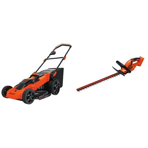 BLACK+DECKER CM2040 40V Lithium 3-in-1 Cordless Mower + Compatible LHT2436B Hedge Trimmer Bare Tool Bundle
