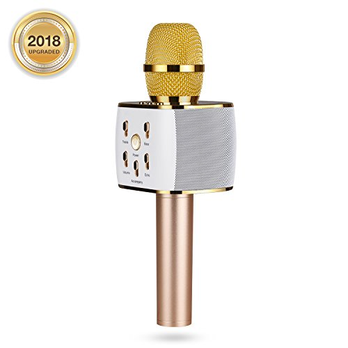 Wireless Karaoke Microphone, Portable Karaoke Machine for Kids with Bluetooth Speaker,USB-Stick Player, bluetooth wireless microphone for iPhone,Android, iPad,TV (gold)