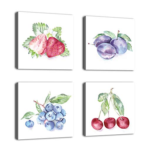 Kitchen Canvas Wall Art Fruits Picture Colorful Watercolor Painting Prints Canvas Artwork Contemporary Wall Art for Kitchen Wall Decor Home Decorations Framed Ready to Hang 12