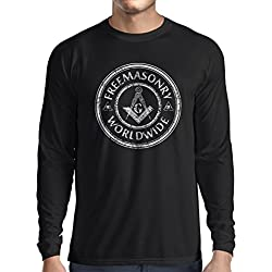 Long sleeve t shirt men Freemason clothing masonic clothing masonic symbols mason (Large Black Multi Color)