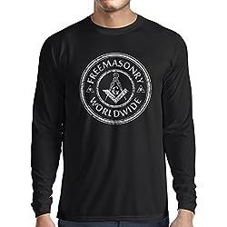 Long sleeve t shirt men Freemason clothing masonic clothing masonic symbols mason (Large Black Multi Color)