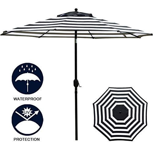 Sunnyglade 9′ Patio Umbrella Outdoor Table Umbrella with 8 Sturdy Ribs (Balck and White)
