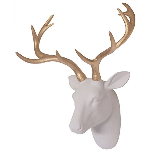 (Deer Head Decor Wall Art Animal Head Art White Flocking Resin Deer Head With Gold Antlers Wall Decoration Size 16