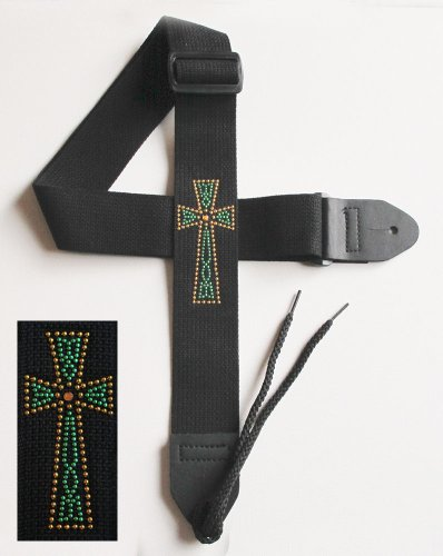 Legacystraps Christian RS Guitar Strap with Metal Studded Celtic Cross W/Faux Topaz Center