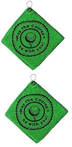 Microfiber Golf Cloth Towels with Grommet and Clip (2 Pack) | May The Course Be with You Design