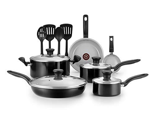 T-fal G917SE64 Initiatives Ceramic Nonstick Dishwasher Safe Toxic Free 14-Piece Cookware Set, Black (Renewed) (T Fal Cookware 14 Set Piece)