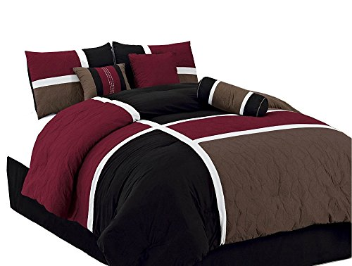 Quilted Bedding Collection (Chezmoi Collection 7-pieces Burgundy Brown Black Quilted Patchwork Comforter Set Full Size)