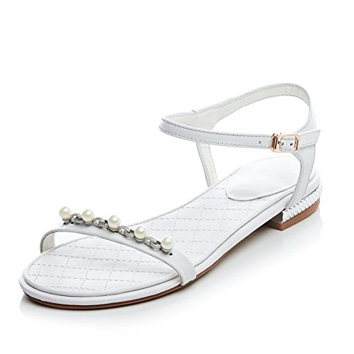 Heels White Material Soft Open 1TO9 Low Ladies Toe Sandals wW8aBI1q