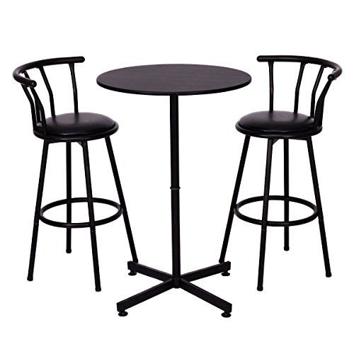 COSTWAY 3 Piece Bar Table Set With 2 Stools Bistro Pub Kitchen Dining Furniture (Pub Furniture)