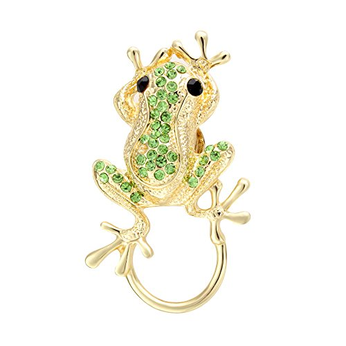 SENFAI 3 Colors Frog Magnetic Clip Holder Magnetic Eyeglass Holder Brooch Jewelry (Silver Necklace Gray) (Gold + -