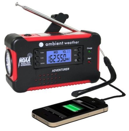 Ambient Weather WR-111-B-AC Emergency Solar Hand Crank Weather Alert Radio, Flashlight, Smart Phone Charger with AC Adaptor