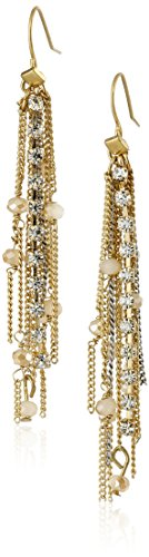Kenneth Cole New York Fringe Worthy Faceted Bead and Two-Tone Chain Drop Earrings