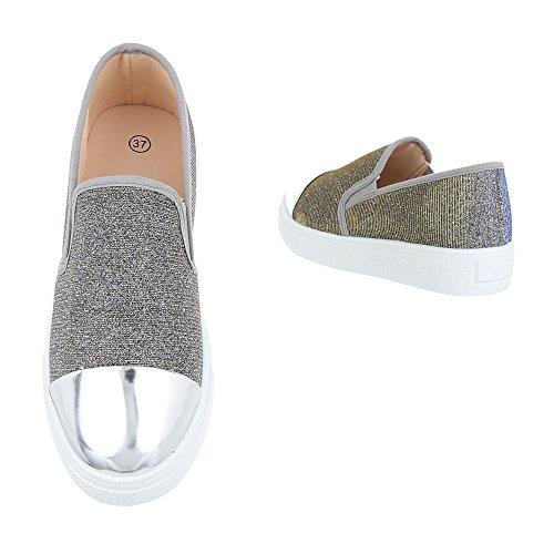 Ital-Design - Tobillo bajo Mujer Grau Silber 086-Y