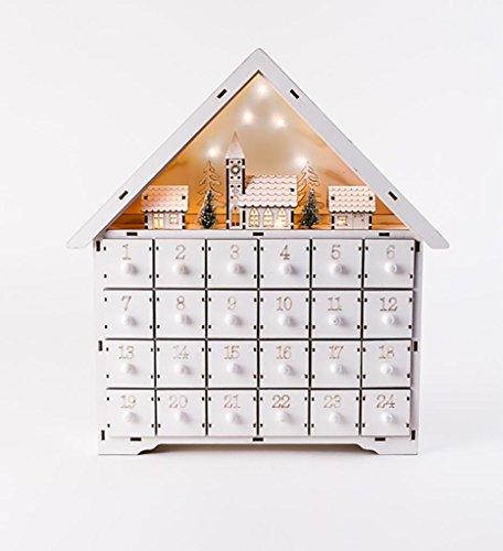 [해외]크리스마스 우드 화이트 알파인 하우스 라이트 장면 어드밴트 캘렌더 w서랍장 / Christmas Wood White Alpine House Lighted Scene Advent Calender wDrawers