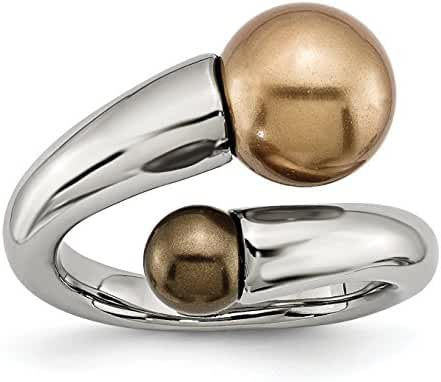 Stainless Steel Champagne & Brown Simulated Pearl Ring