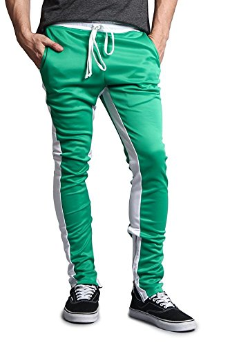 G-Style USA Men's Dual Side Stripe Ankle Zip Contrast Waistband Skinny Track Pants - P118 - Kelly Green/White - Large - G15F