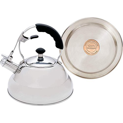 Chef's Secret KTTKC Surgical Stainless Steel Tea Kettle with Copper Capsule Bottom, Mirror Finish, 2.75 Quarts