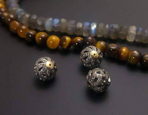 Pave Diamond Silver Beads- 925 Sterling Silver - GunMetal Colour - 10mm Spacer Beads - Pave Diamond Spacer Beads - Pave Diamond Findings