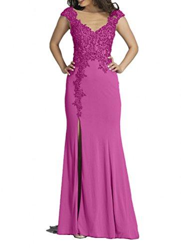 mit Perlen Figurbetont Elegant Damen Spitze Pink Abendkleider Abschlussballkleider Festlichkleider Charmant Grau w8YAnqA1