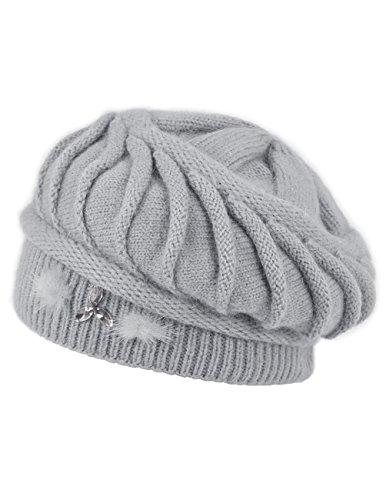 Dahlia Women's Angora Blend Beanie Hat - Spiral Twist Pattern - Dual Layer Gray