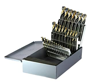 "Drillco 300N Series Nitro 29 Piece High-Speed Steel Screw Machine Length Heavy-Duty Drill Bit Set, Black and Gold Oxide Finish, Round Shank, Spiral Flute, 135 Degrees Split Point, 1/16"" - 1/2"" in 1/64"" increments (B00GPA6VNE) 